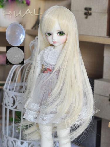 "6-7/"" 1//6 BJD Blonde Cute Long Wig LUTS Doll SD DZ DOD MSD Fairyland Hair AL-7#"