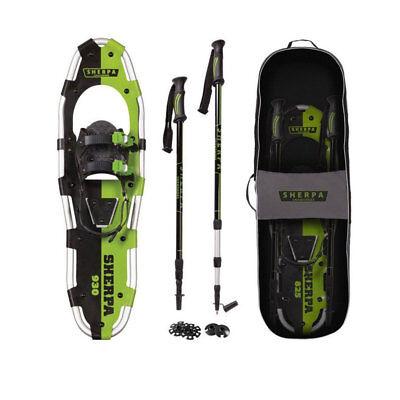 "Yukon Charlie's Sherpa 9"" x 30"" Hiking Snowshoe Kit w/ Poles & Bag, Green"