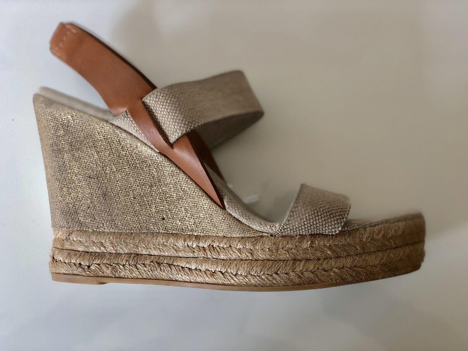 Tory Burch cuñas Plataformas Sandalias De Cuero Beige Tamaño 8.5 EE. UU. UK5.5