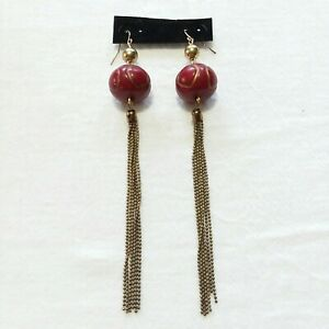 Long-Shoulder-Duster-Tassel-Earrings-With-Dark-Red-Bead-Accent-5-5-034-Long-T80