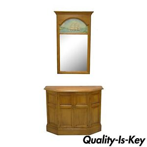 Hall Console Cabinet conant ball maple wood hall console table cabinet and wall mirror