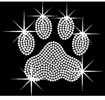 Paw RHINESTONE IRON-ON BLING TRANSFER Paw You Choose Color DIY Apllique