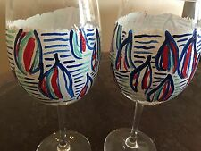 Set of 2 Lilly Pulitzer Inspired Red Right Return Hand Painted Wine Glasses