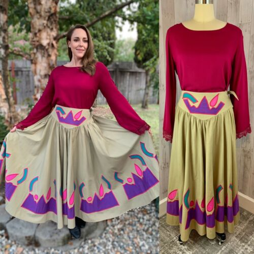 Vintage 1970s Handmade Mexican 2PC Top/Skirt Fiest
