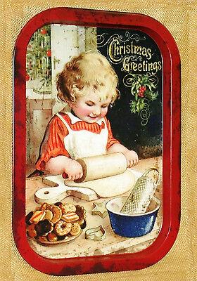 Christmas Cookie Girl Food Safe Tin Metal SERVING TRAY vintage art home decor