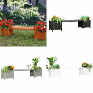 2 blumenk sten mit gartenbank aus holz garten bank blumenkasten holzbank ebay. Black Bedroom Furniture Sets. Home Design Ideas