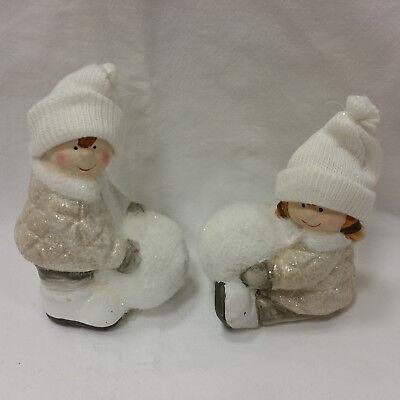 Winter Kinder Paar Junge Mädchen Weihnachten Deko Keramik Neu