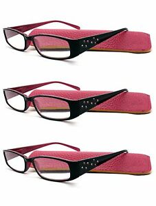 3-Pack-Crystal-Pattern-Black-Red-Two-Tone-Reading-Glasses-with-Cases