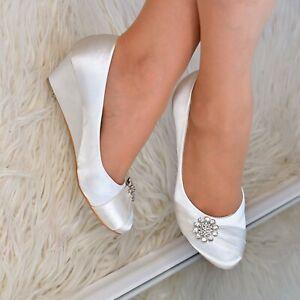 Womens Ladies Bridal Wedges Shoes Low