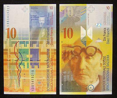 Signature #1 Switzerland Paper Money 10 Francs UNC
