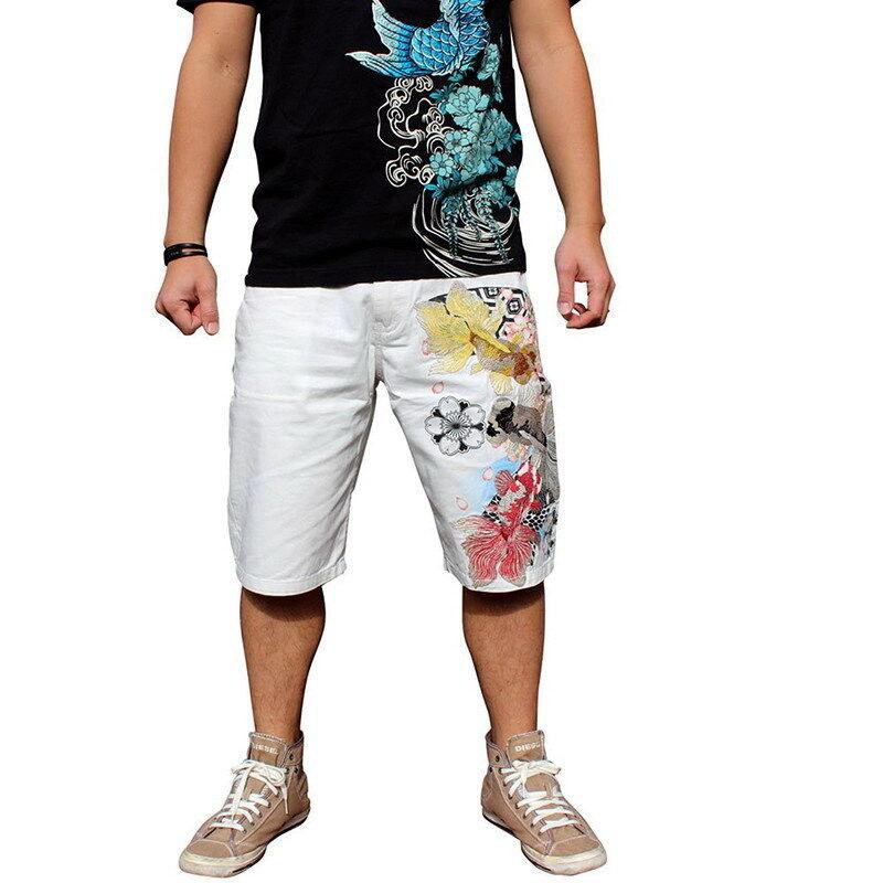 Mens Summer Shorts Capri Cotton Jeans Denim Japanese Pattern Embroidery goldfish