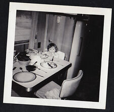 Antique Photograph Adorable Little Girl Eating At Table in Retro Kitchen