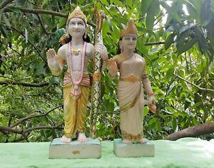 Ram-Sita-Deesse-Dieu-Hindou-2-Statues-en-Marbre-14-6-kilos-total-Fait-main-Inde