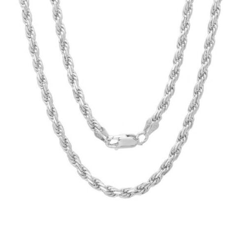 Sterling Silver Diamond-Cut Rope Chain Solid 925 Italy New Necklace 16 inch
