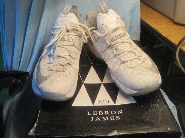 cbb0ddb6c3d01 Nike Lebron XIII 13 Low 831925-100 White Metallic Silver Light Iron Size 12