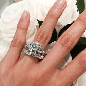 4-50Ct-Round-Cut-Diamond-Engagement-Wedding-Ring-Set-in-14k-White-Gold-Finish