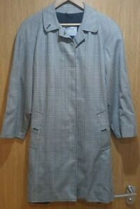 Women's Vintage Aquascutum Trench Coat - Size 10 - Grey - Hounds tooth Check