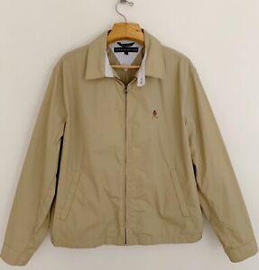 Vintage-90-s-TOMMY-HILFIGER-Men-Harrington-Jacket-Sz-L-Crest-Beige-Tan-Full-Zip