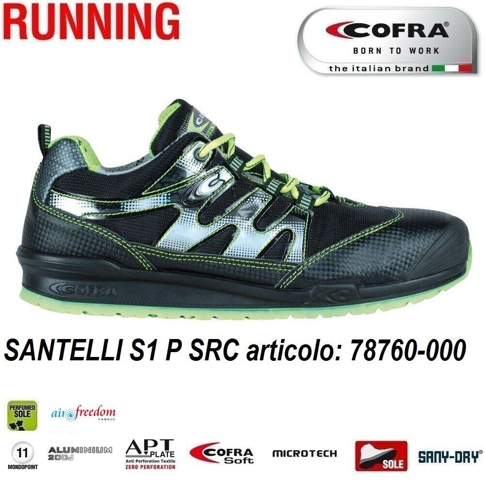 Scarpe Antinfortunistiche COFRA linea RUNNING modello SANTELLI S1 P SRC scarpe lavoro nylon AIRFREEDOM FABRIC ad alta tenacità, altamente traspirante