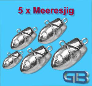 5-x-Meeresjig-Dorschbombe-25g-75g-Jig-Bleikopf-Fischkopf-Jigkopf