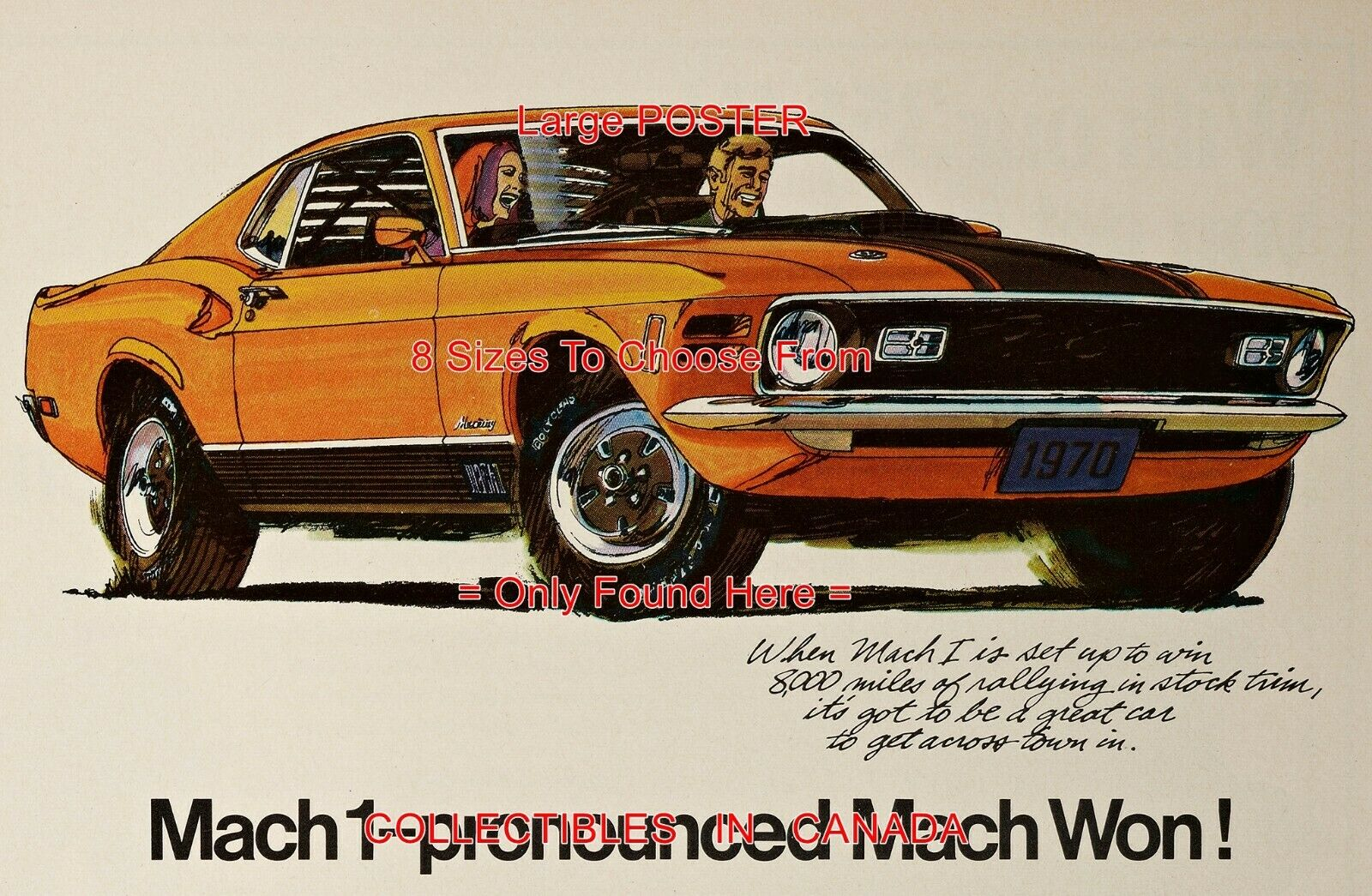 FORD MUSTANG MACH 1 1970 Pronounced Mach Won = POSTER 8 Größes 18  - 3 FEET