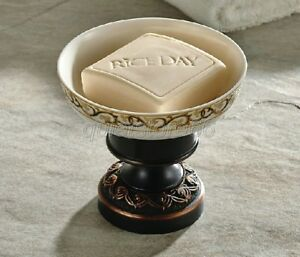 Black-Oil-Brass-Bathroom-Accessories-Ceramic-Soap-Dish-Holder-Deck-Mount-qba473