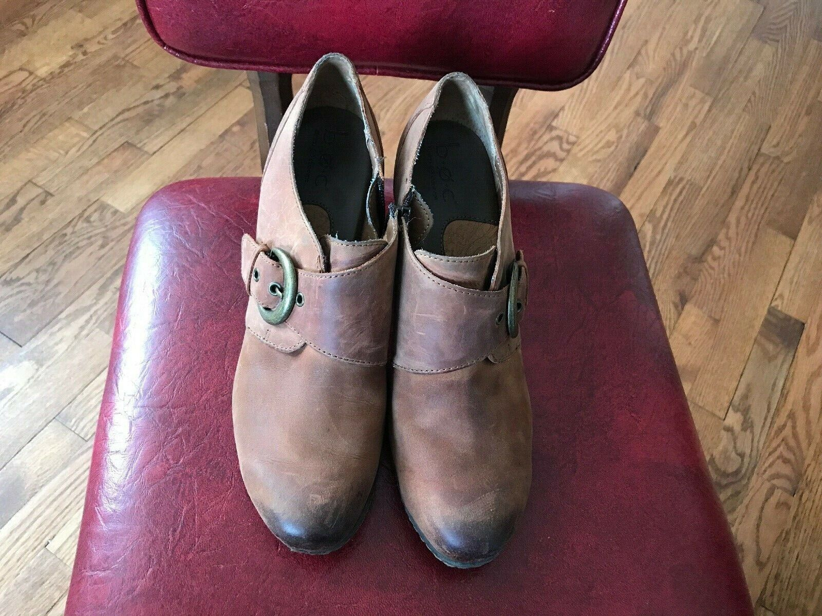 BOC Born Women's Leather Ankle Heels Brown Boots Size 9 US 40.5 EU Zipper Side