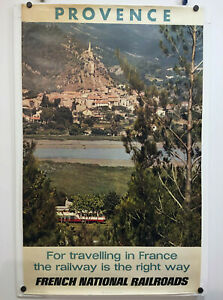 1971-Vtg-Provence-Travelling-by-Train-FRENCH-NATIONAL-RAILROADS-RAILWAYS-POSTER