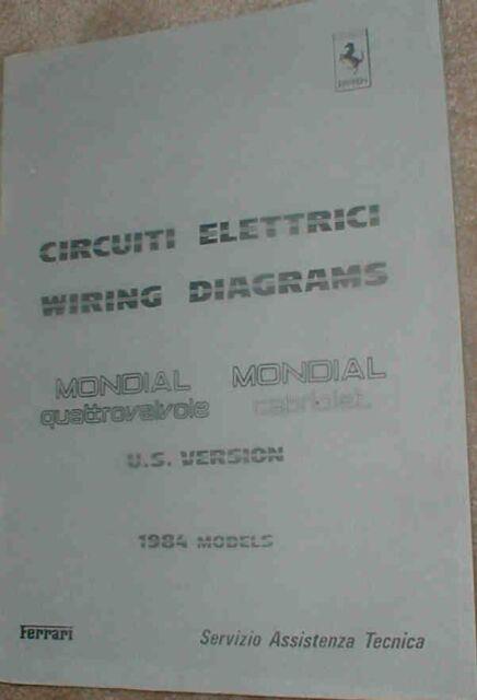 1984 ferrari mondial qv factory wiring diagram manual ebay rh ebay com ferrari mondial t wiring diagram Ferrari Testarossa