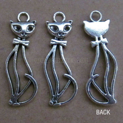 50pc Retro Tibetan Silver Charm Cat Accessories Jewelry Findings Wholesale B089P