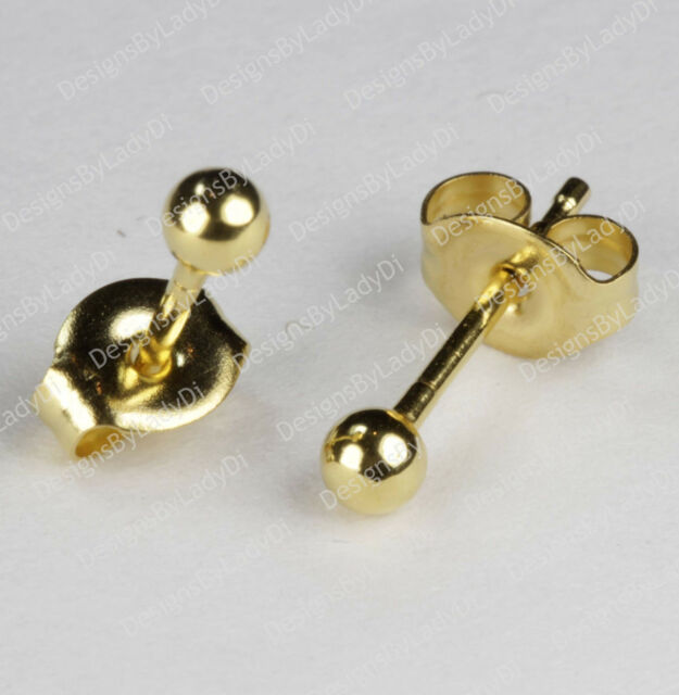 Studex Gold Earrings Tiny Tips Hypoallergenic 3mm Round Ball