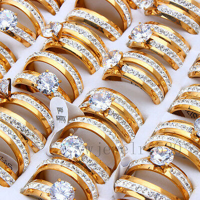 10pcs 5sets 18K Gold Zirconia Stainless Steel Engagement Wedding Ring Gift FREE