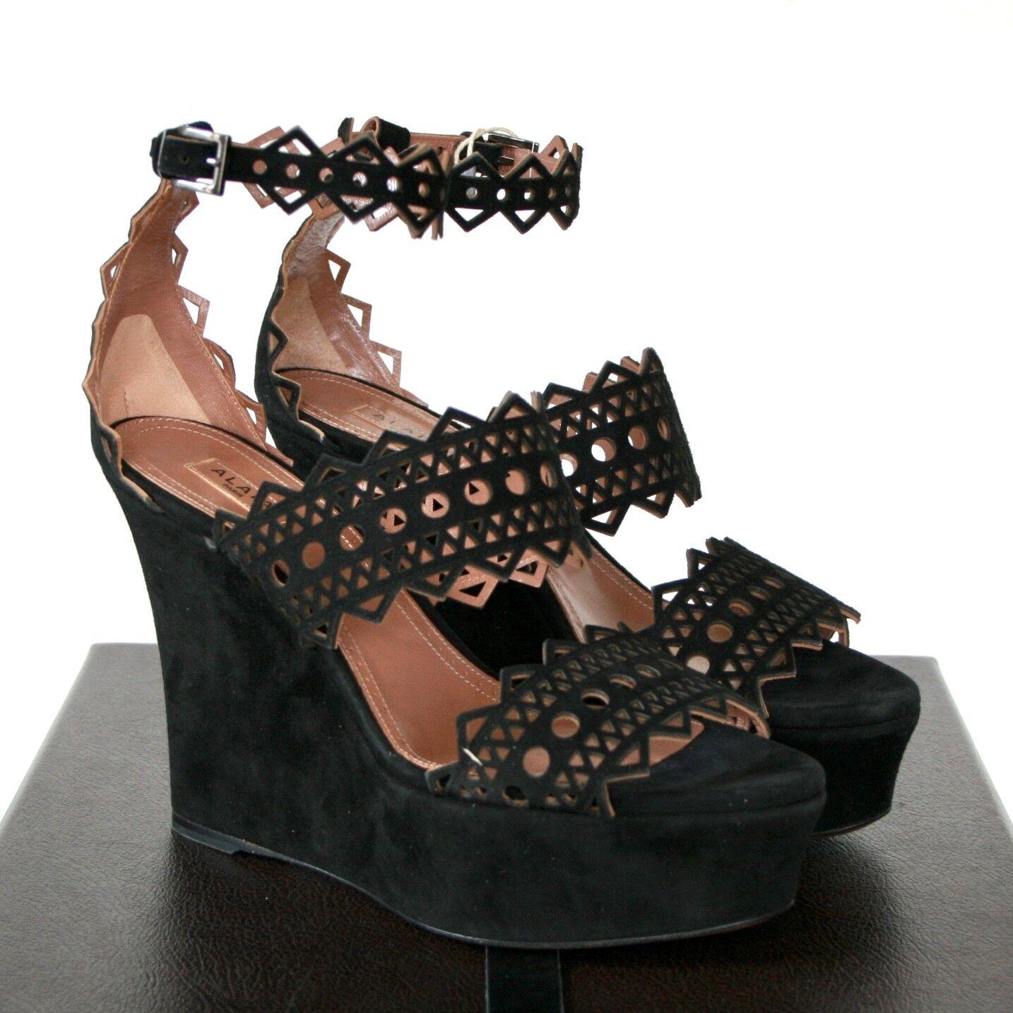 ALAIA  1,560 cutout schwarz suede platform high heel cut out sandal schuhe 37 NEW