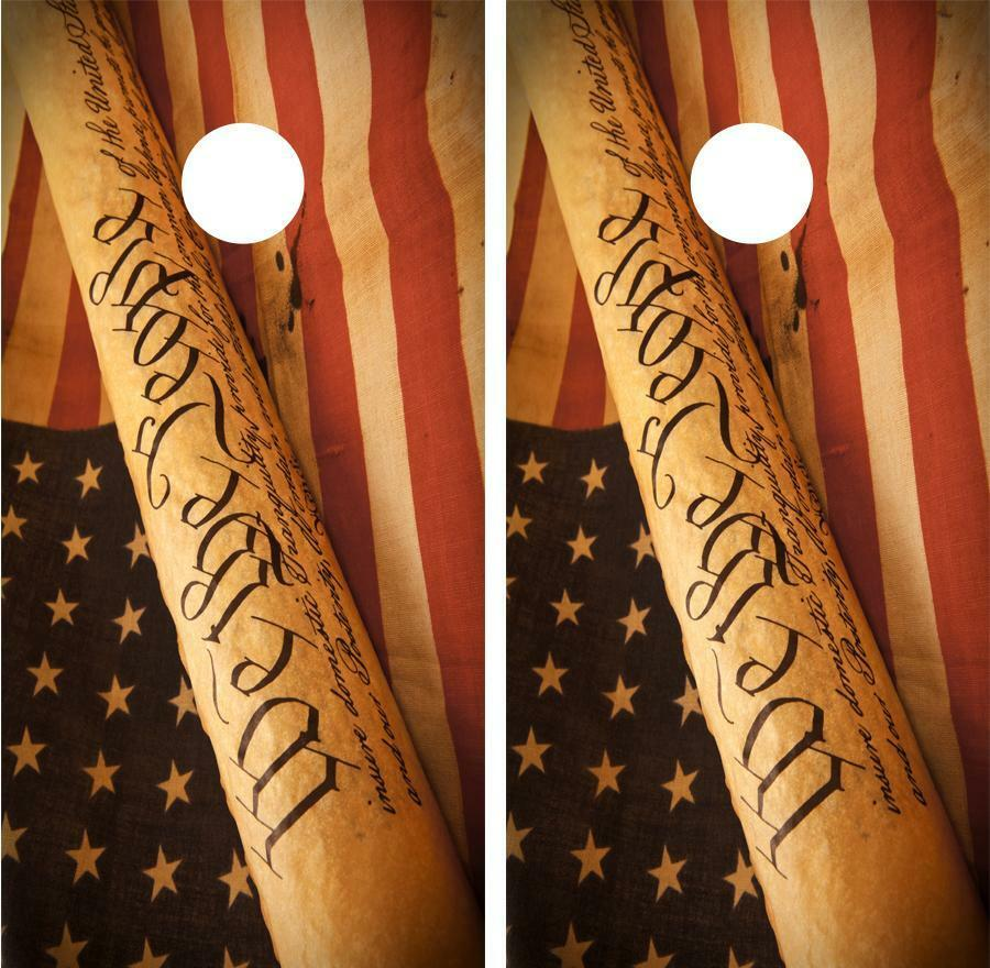 We The  People American Flag Cornhole Board Skin Wrap Decal Set FREE SQUEEGEE  low-key luxury connotation