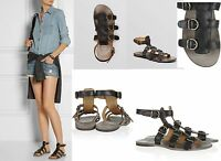 Fiorentini + Baker Women's Gladiator Thea Toast Leather Sandals Black Or Gray
