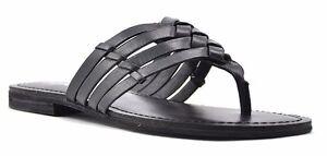 711799ab1a774e Women Reba Angel Criss Cross Woven Thong Sandals Black Leather ...