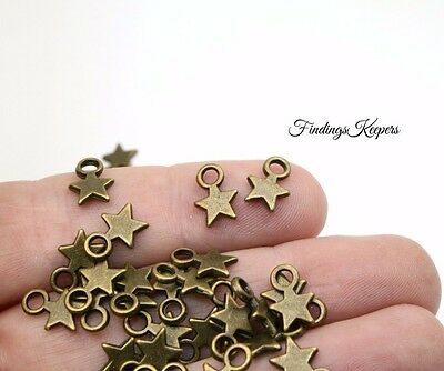 BC288 NEW4 12 Crescent Moon Charms Antique Bronze Tone 2 Sided