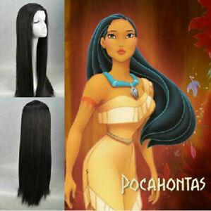 Disney-Princess-034-Pocahontas-034-Indian-princess-Pocahontas-black-cosplay-wig
