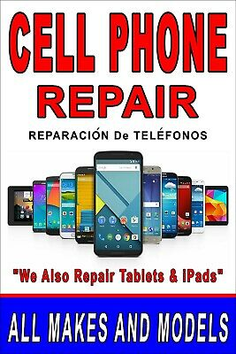 Cell Phone Repair 24x36 advertising poster with Spanish ...