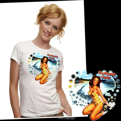 * Surfer Pin-Up Wellenreiten Beach Surfing Damen Girl T-Shirt *3064 wh