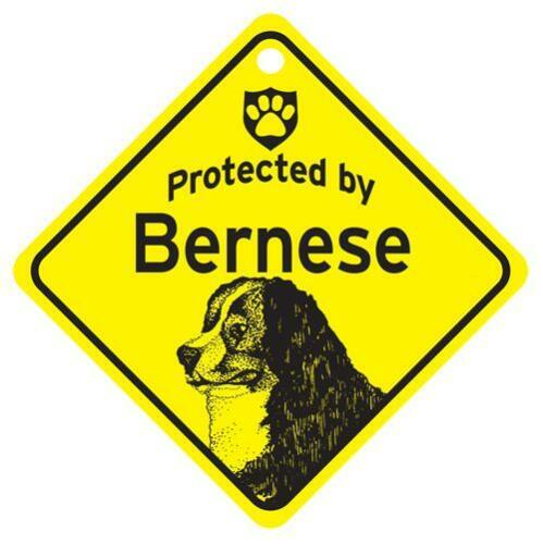 Protected by Bernese Mountain Dog Window Sign Made USA
