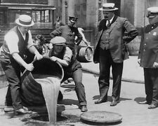 AGENTS POUR LIQUOR IN SEWER 8X10 PHOTO PROHIBITION NYC