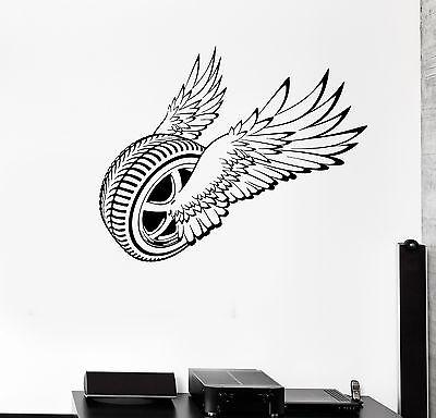 Vinyl Wall Decal Garage Decor Wheel Wings Driver Car Repair Stickers g2598