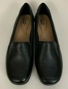 Clarks-Gael-Angora-Loafer-Shoes-Black-Leather-Size-10-M