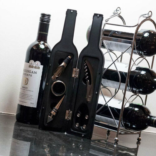 Corkscrew Luxury Wine Accessory Gift Set in Wine Bottle Shaped Case Stopper