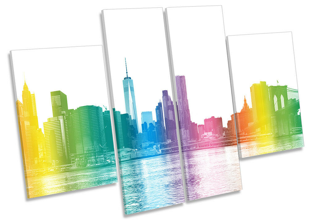 New York Stadt Rainbow Bild CANVAS Wand Kunst Four Panel