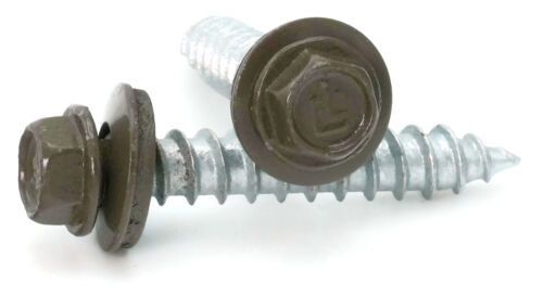 #14 Hex Washer Head Roofing Screws Mechanical GalvanizedBronze Finish