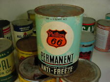 SNOWFLAKE GRAPHIC * RARE FULL 1940s era PHILLIPS 66 ANTI FREEZE Old 1 qt Oil Can