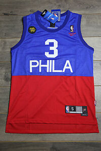sneakers for cheap b119c 7c63d Details about Allen Iverson #3 Philadelphia 76ers Jersey Blue Red Swingman  Basketball Vintage