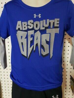 New Under Armour Boys Kids Youth Long Sleeve Shirt /& Pant Set Blue Beast 24 M